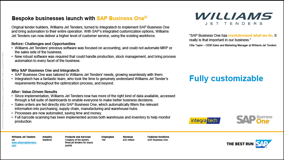 See how Williams Jet Tenders has benefited from using Integratech and SAP Business One