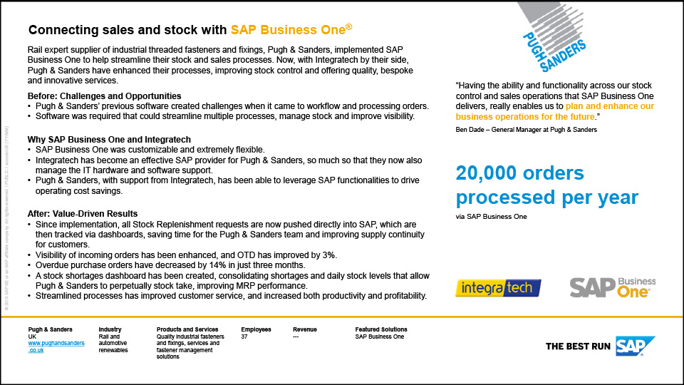 See how Pugh & Sanders has benefited from using Integratech and SAP Business One